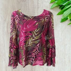 Cato Tropical Print Layered Bell Sleeve Top